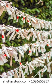 Strings of bad fortunes left behind at a Shinto shrine in Tokyo Japan. Fortune papers called Omikuji, lucky ones are taken home but bad luck ones left behind. All legible Japanese has been erased.