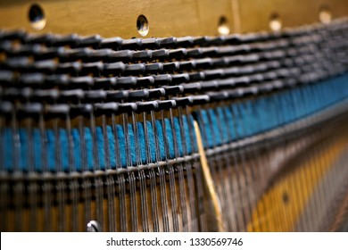 Strings, pegs and damper inside the old piano. The mechanism of musical instruments. Shallow depth of field. Close-up.
