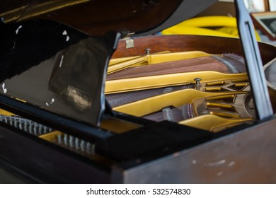The strings of the piano closeup