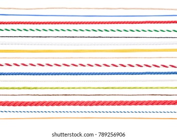 Strings and ropes isolated on white background