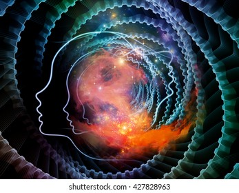 Strings of Soul Gears of Mind series. Creative arrangement of human profiles and fractal lines as a concept metaphor on subject of Mind, Soul, Reason and mental life