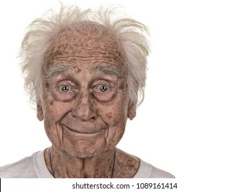 Strinking and fun Image of a senior man on White