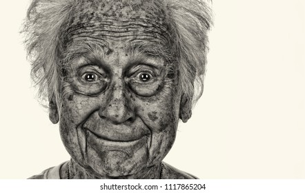 Strinking and fun Image of a senior man on Off White Background