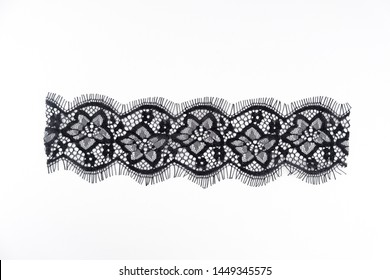 strip of black lace isolated,border lace