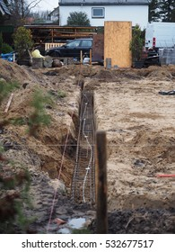 strip foundation for a new house on a rainy day