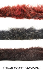 Strip of fur isolated over the white background, set of three color versions: red, gray and brown