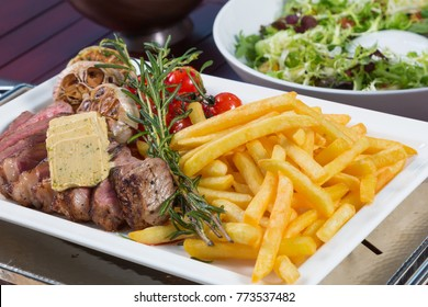 Strip loin with french fries