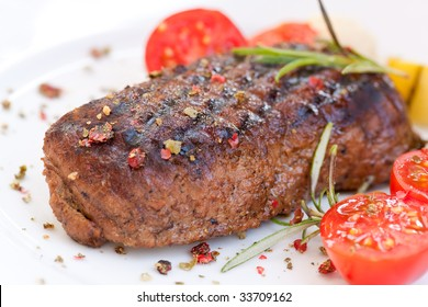 strip steak with cherry tomatoes