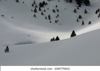 Strip of sun on snow
