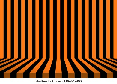 Stripe room in black and orange design for Halloween card background.