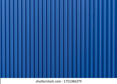 Striped Blue wave steel metal sheet cargo container line industry wall texture pattern for background.