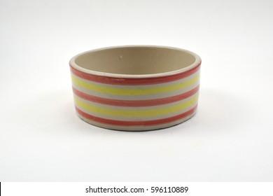 striped bowl on white background.