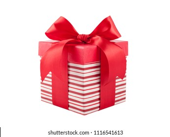striped box with gift and bow on white background.