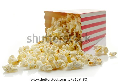 Striped box of popcorn isolated on white background