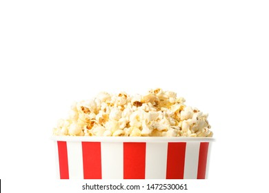 Striped bucket with popcorn isolated on white background