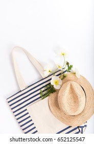 Striped Canvas Tote Bag with Summer Straw Hat, Espadrille Sandals,  and White Poppy Flowers