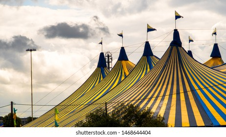 Striped Circus Tent at Sunset