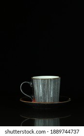 Striped Coffee cup with flames of fire