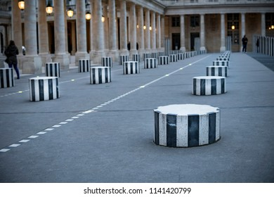 The striped Colonnes de Buren have been installed inside the cour d honneur inner courtyard of the Palais Royal in Paris since 1986