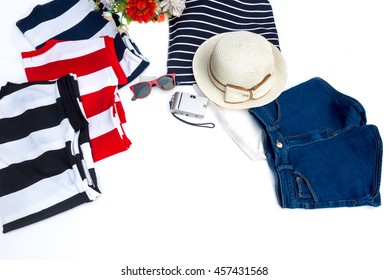 Striped color clothes set , shorts jean and accessory for summer on white background.