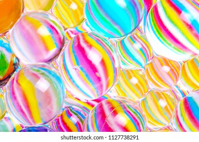 striped colored hydrogel balls, round rubber transparent balls with different color ranges