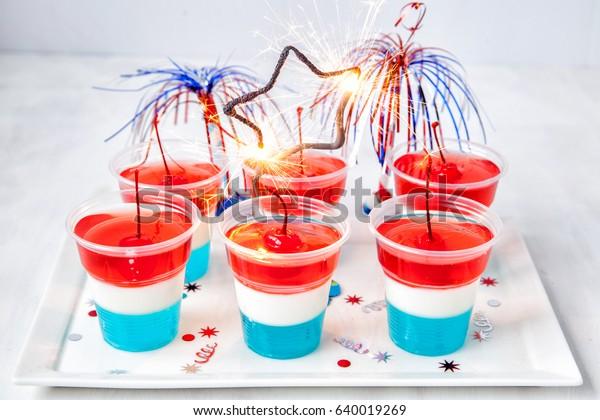 Striped firecracker jello shots for 4th july