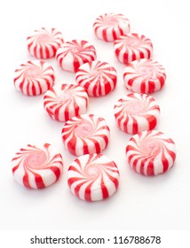 Striped holiday mint candies vertical