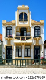 Striped houses in Costa nova, Aveiro, Portugal