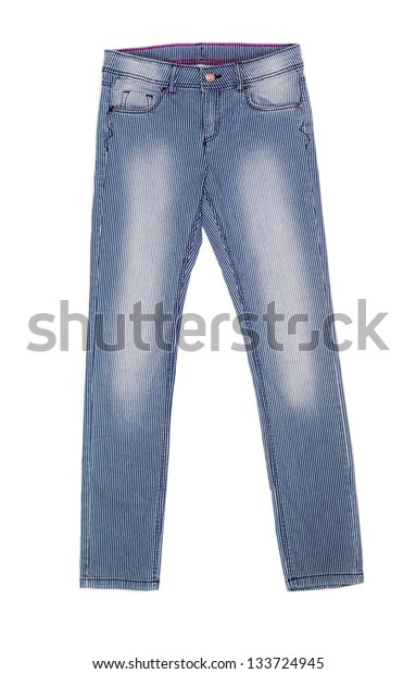 striped jeans isolated on white background