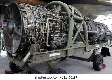 A striped jet engine from the retired U2 spy plane