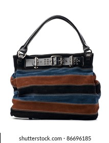 Striped leather handbag over white