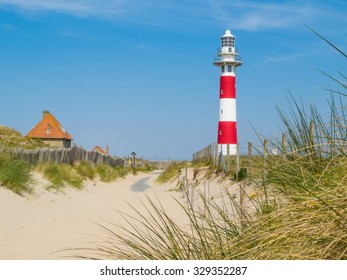 Striped Lighthouse on the coast of the North Sea, Belgium