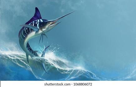 striped marlin on sea, fish sword