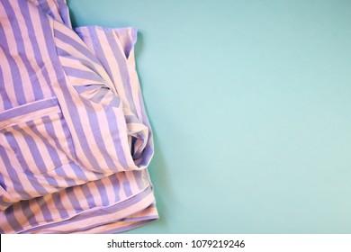 Striped Pajamas Blue Background Copy Space