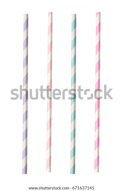 Striped paper straws isolated on white background.