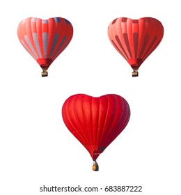 Striped red air balloon set in the shape of a heart isolated on a white background. Romantic date present trip on Valentine's Day. Sports and recreation travel theme.