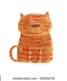 Striped red cat. Hand drawing illustration