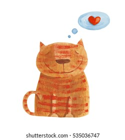 Striped red cat with heart. Hand drawing illustration