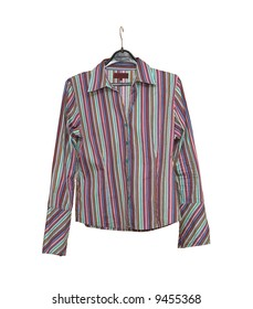 striped shirt hanging on a hanger isolated