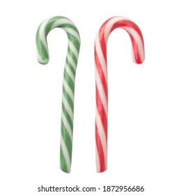 striped sugar stick isolated on white background. Traditional Christmas candy, red and green stripe