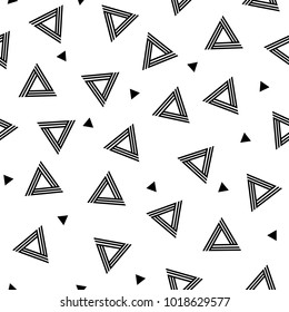 Striped triangle geometric seamless pattern in black and white, vector background