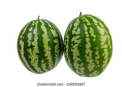 striped watermelon of different size isolated on white background