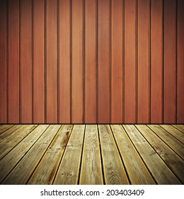Striped wooden deck floor and Painted brown grunge wooden planks background