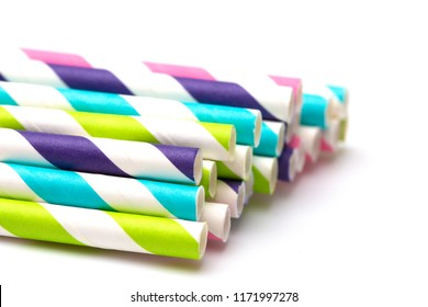 Stripped Paper Straws on a White Background