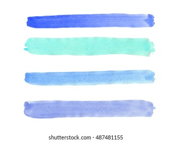 Strips of blue and turquoise colors, painted with watercolor