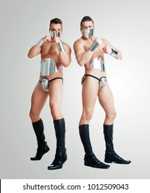 striptease dancers wearing  sparkling silver costumes in the studio isolated against white background