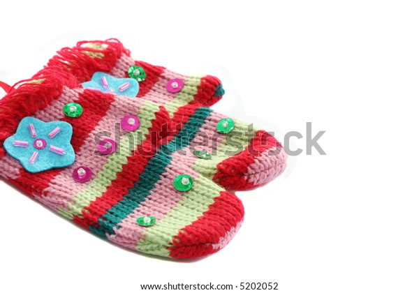 stripy colorful decorated mittens