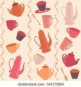 Stripy pattern with cups, teapots and cakes.