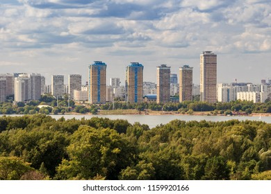 Strogino district is an administrative raion of North-Western Administrative Okrug of Moscow, Russia. The lights of the big city. Moskva River. View above.
