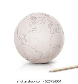 Stroke America map on paper globe on white background